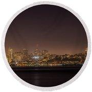 City Lights San Francisco California Round Beach Towel by James Hammond