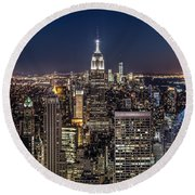 City Lights Round Beach Towel by Mihai Andritoiu