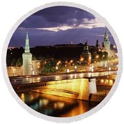 City Lit Up At Night, Red Square Round Beach Towel