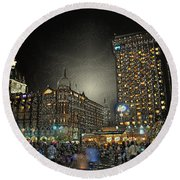 City Never Sleeps Round Beach Towel