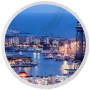 City Of Barcelona From Above At Night Round Beach Towel