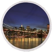 City Of Lights Round Beach Towel
