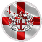City Of London - Coat Of Arms Over Flag  Round Beach Towel