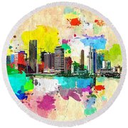 City Of Miami Grunge Round Beach Towel