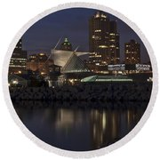 Round Beach Towel featuring the photograph City Reflection by Deborah Klubertanz