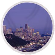 City Skyline At Dusk, Seattle, King Round Beach Towel by Panoramic Images