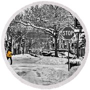 City Snowstorm Round Beach Towel