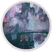 City That Never Sleeps Round Beach Towel