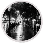 City Walk In The Rain Round Beach Towel by Mike Ste Marie