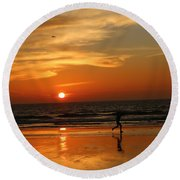 Clam Digging At Sunset - 3 Round Beach Towel