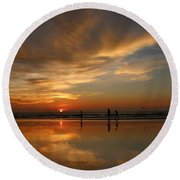 Clam Digging At Sunset -1  Round Beach Towel