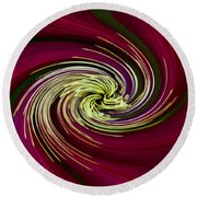 Round Beach Towel featuring the photograph Claret Red Swirl Clematis by Debbie Oppermann