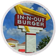 Classic Cali Burger 1.1 Round Beach Towel by Stephen Stookey