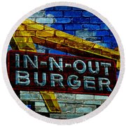 Classic Cali Burger 2.4 Round Beach Towel by Stephen Stookey