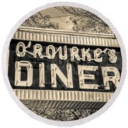 Classic Diner Neon Sign Middletown Connecticut Round Beach Towel