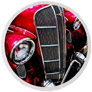 Round Beach Towel featuring the photograph Classic Dodge Brothers Sedan by Joann Copeland-Paul