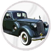 Classic Green Packard Luxury Automobile Round Beach Towel by Keith Webber Jr