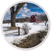 Round Beach Towel featuring the photograph Classic New England Farm Scene by Edward Fielding