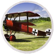 Classic Red Barron Fokker Dr.1 Triplane Photo Round Beach Towel by Keith Webber Jr