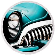 Round Beach Towel featuring the photograph Classic Turquoise Buick by Joann Copeland-Paul