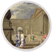 Classical Landscape Oil On Canvas Round Beach Towel