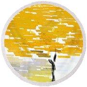 Classy Yellow Tree Round Beach Towel by Lourry Legarde