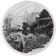 Claude Monet In His Garden At Giverny Round Beach Towel