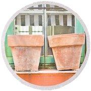 Clay Pots Round Beach Towel