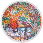 Claytor Lake Cabin In Fall Round Beach Towel