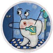 Clean Teeth Round Beach Towel