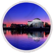 Clear Blue Morning At The Jefferson Memorial Round Beach Towel