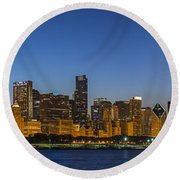 Round Beach Towel featuring the photograph Clear Blue Sky by Sebastian Musial