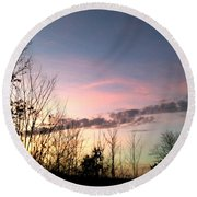 Clear Evening Sky Round Beach Towel