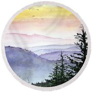Clear Mountain Morning II Round Beach Towel