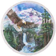 Round Beach Towel featuring the painting Cleared For Landing Mount Baker by Sherry Shipley
