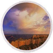 Clearing Storm Cape Royal North Rim Grand Canyon Np Arizona Round Beach Towel