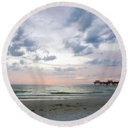 Clearwater Fishing Pier Round Beach Towel