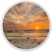 Clearwater Sunset Round Beach Towel by Mike Ste Marie