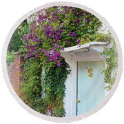 Clematis Around The Door Round Beach Towel