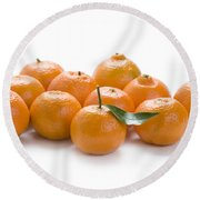 Round Beach Towel featuring the photograph Clementine Oranges On White by Lee Avison