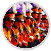 Clemson Tiger Band - Afremov-style Round Beach Towel by Lynne Jenkins
