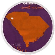 Clemson University Tigers College Town South Carolina State Map Poster Series No 030 Round Beach Towel