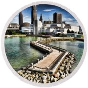 Round Beach Towel featuring the photograph Cleveland Inner Harbor - Cleveland Ohio - 1 by Mark Madere
