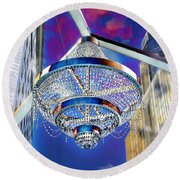 Round Beach Towel featuring the photograph Cleveland Playhouse Square Outdoor Chandelier - 1 by Mark Madere