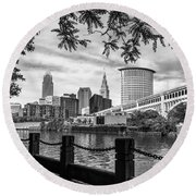 Cleveland River Cityscape Round Beach Towel