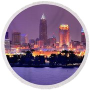 Round Beach Towel featuring the photograph Cleveland Skyline At Night Evening Panorama by Jon Holiday