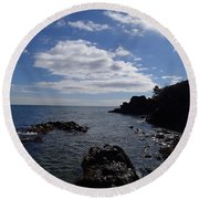 Round Beach Towel featuring the photograph Cliff Bottom by Robert Nickologianis