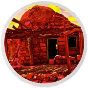 Cliff Dwellers In Red Round Beach Towel