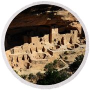 Cliff Palace At Mesa Verde National Park Anasazi Ruin Watercolor Digital Art Round Beach Towel by Shawn O'Brien