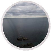 Round Beach Towel featuring the photograph Cliff View by Robert Nickologianis